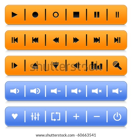 Media control web 2.0 buttons navigation panel. Orange and blue rounded rectangle with shadow and reflection on white
