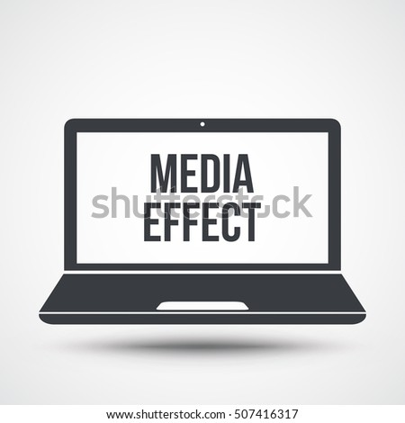 media effect text on laptop