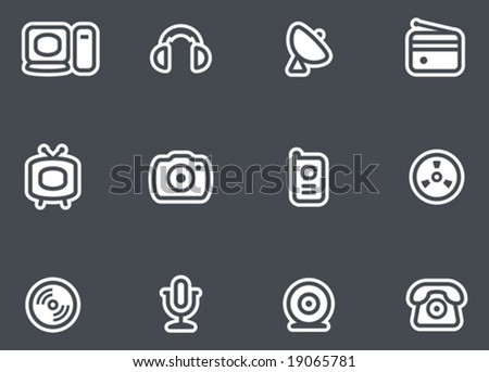 Media, Electronics & Communications  - Vector Icons Set.  You'll find more icons like this in my portfolio