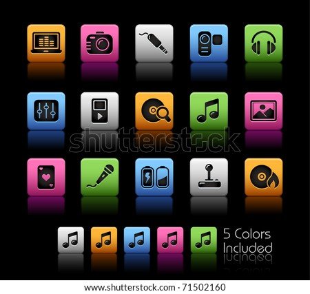 Media & Entertainment // Color Box -------It includes 5 color versions for each icon in different layers ---------