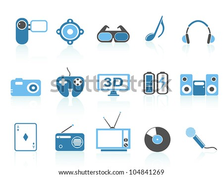 media entertainment icons ,blue series