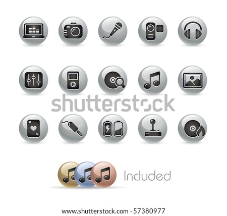 Media & Entertainment // Metal Round Series --- It includes 4 color versions for each icon in different layers.--- - stock vector