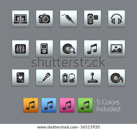 Media & Entertainment  // Satinbox Series -------It includes 5 color versions for each icon in different layers ---------