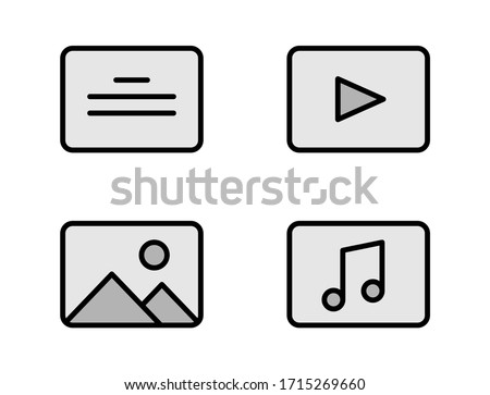 Media files outline filled icons for web, mobile and ui design. Text, video, audio, photo linear grey symbols