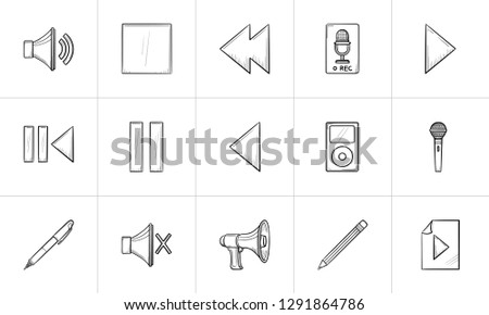 Media hand drawn outline doodle icon set for print, web, mobile and infographics. Music, video, radio and internet vector sketch illustration set isolated on white background.