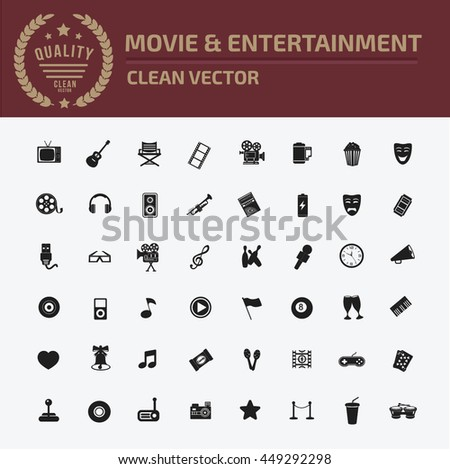 Media icon,entertainment icon set,vector