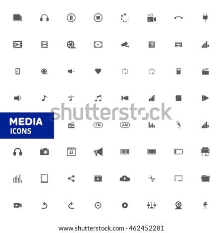 Media Icon, Multimedia icon set. vector illustration