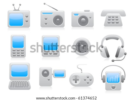 Media icon set. Vector