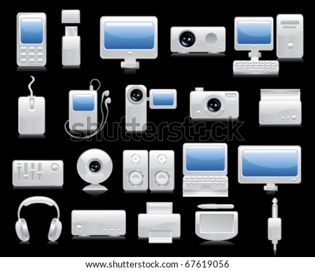Media icon set. Vector