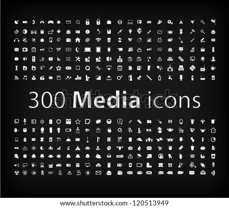 Media Icon set  (vector)  office ,media, mobile icons