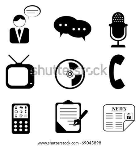 Media icons and symbols silhouettes