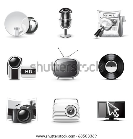 Media icons | B&W series