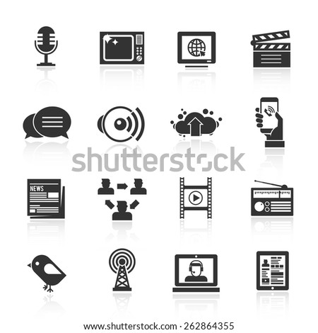 Media icons black set with microphone tv computer film isolated vector illustration
