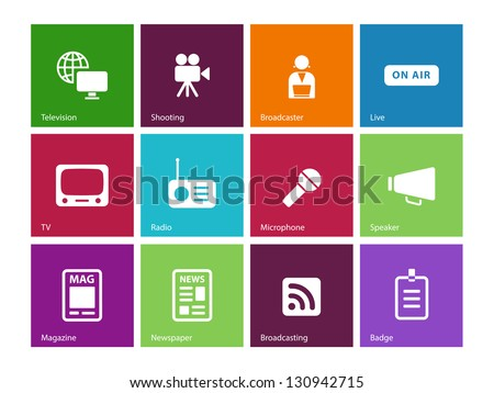 Media icons on color background. Vector illustration.