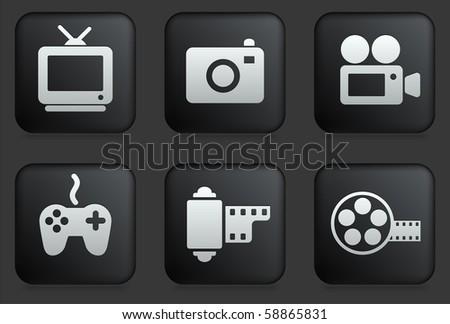 Media Icons on Square Black Button Collection Original Illustration