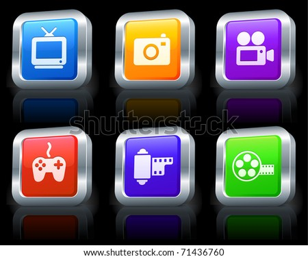 Media Icons on Square Button Collection with Metallic Rim Original Illustration