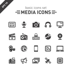 Media icons set.