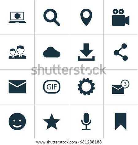 Media Icons Set. Collection Of Letter, Inbox, Gif Sticker And Other Elements. Also Includes Symbols Such As Notification, Camcorder, Smile. #661238188