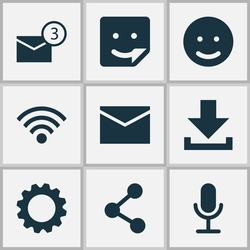 Media Icons Set. Collection Of Smile, Wireless Connection, Publish And Other Elements. Also Includes Symbols Such As Emoji, Network, Notification.