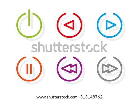 Media icons. Set of six media icons showing power icon, play, reverse, pause, fast forward and rewind in a series of vibrant colors.