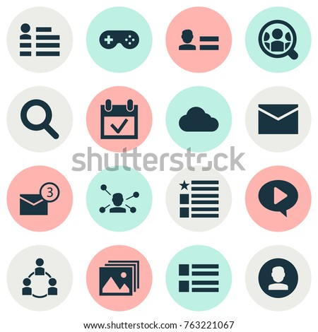 Media icons set with video, joystick, gallery and other overcast elements. Isolated vector illustration media icons.