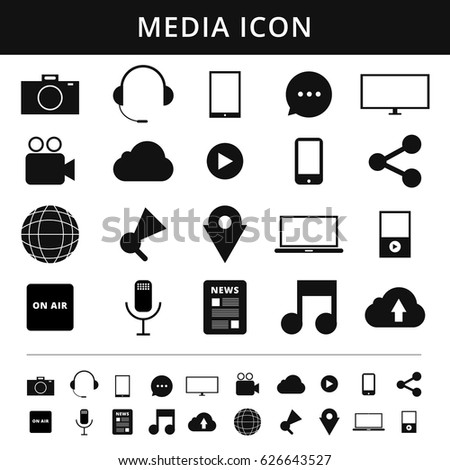Media Icons. Simplus series. Each icon is a single object vector