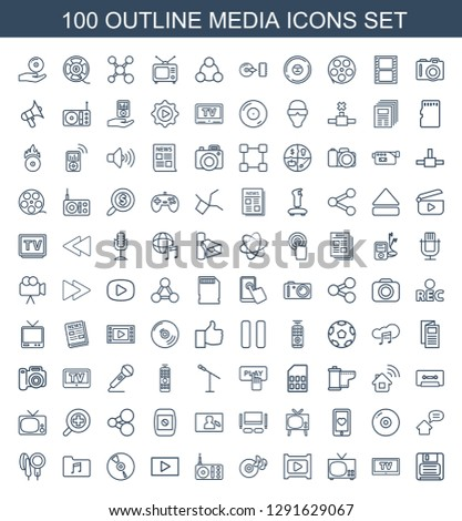 media icons. Trendy 100 media icons. Contain icons such as diskette, TV, play, disc on fire, radio, CD, music folder, microphone, home message. media icon for web and mobile.