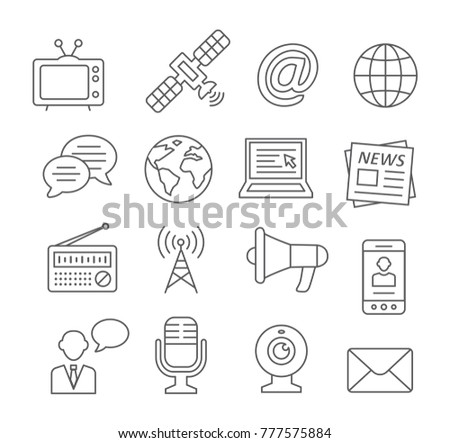 Media line icons on white