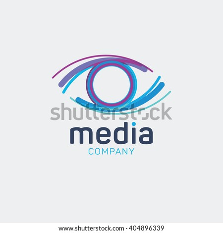 Media logo. Eye logo. Multimedia logo. Company logo. View logo. Media agency logo