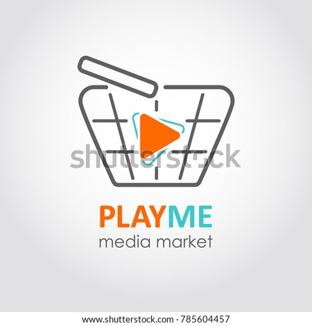 Media market icon. Multimedia store flat style logo. Concept of media shopping, game, app, film, music store. Play sign with shopping basket template.