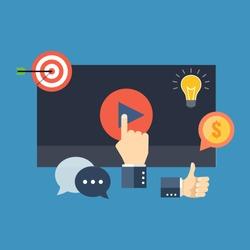 Media marketing concept. Colorful flat design icon.  Vector illustration