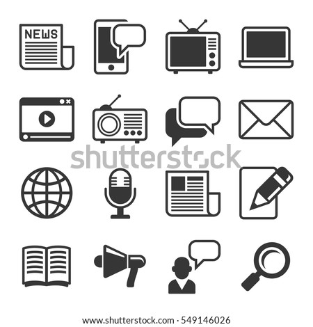 Media News Icon Set on White Background. Vector