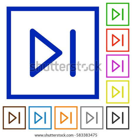 Media next flat color icons in square frames on white background