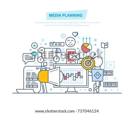 Media planning, digital marketing, advertising, promotion in social network, online business, financial analysis and research. Illustration thin line design of vector doodles, infographics elements.