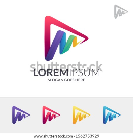 Media Play Letter M Logo Design In Various Color Option, Initial Letter M, Media Player Logo Icon, Modern Play Button Logo, Abstract Triangle/Arrow Vector
