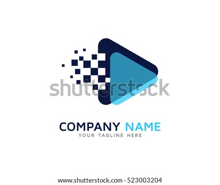 Media Play Pixel Logo Design Template