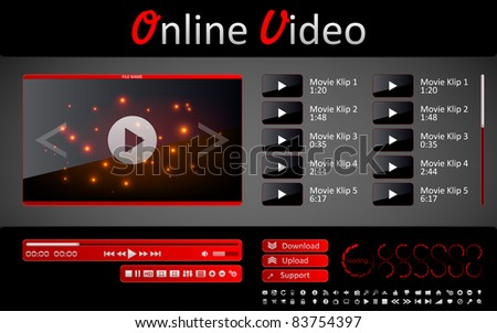 Media player and a set of interface elements for web site