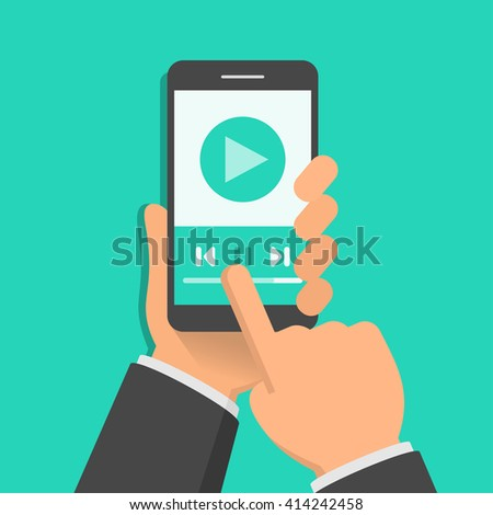Media player app on smartphone screen. One hand holds smartphone and finger touch screen. Flat design vector illustration