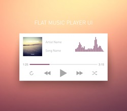 Media player application, app template with flat design style for smartphones, PC or tablets. Clean and modern