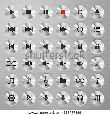 Media player buttons collection. Polished metal buttons with music media symbols.
