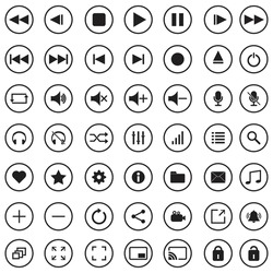 Media player buttons set. Media player icons collection. Multimedia symbols isolated on white background. Vector illustration of audio, video, music, recording, interface pictogram pack.