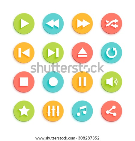 Media player circle vector icons set for interface isolated on white background. Play, stop, pause, repeat, equalizer and volume control buttons for multimedia device or mobile app