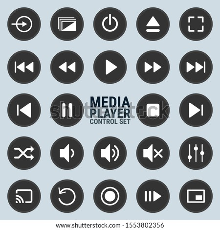 Media player control icon set for designers in the design of all kinds of works. Beautiful and modern icon which can be used in many purposes Eps10 vector.