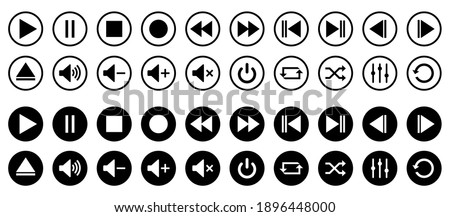 Media player control icon set, interface multimedia symbols and audio, media player buttons, music speaker volume – vector Stock fotó ©