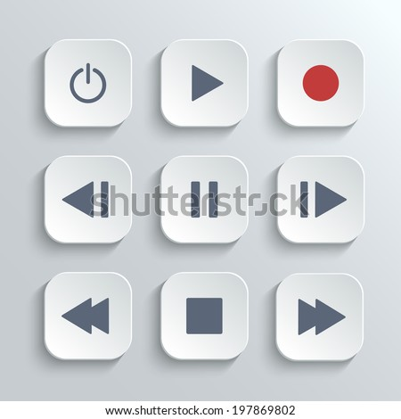 Media player control ui icon set- vector white app buttons with home