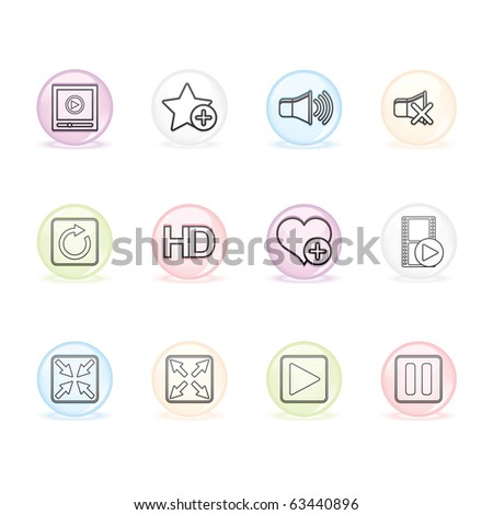 Media Player icon set 15 - Sphere Series.  Vector EPS8 format, easy to edit.