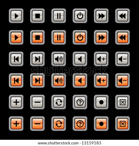 media player icons and symbols, each with on and off states.