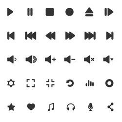Media Player Icons Set. Multimedia. Isolated. Vector Illustration