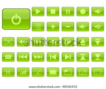 media player icons, vector illustration