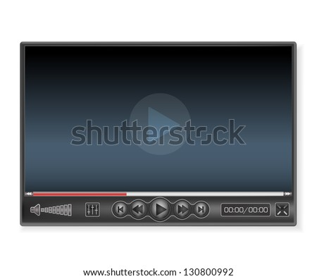 Media player in dark colors - stock vector